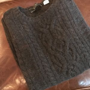 Neiman Marcus brand 100% cashmere brown cable crew